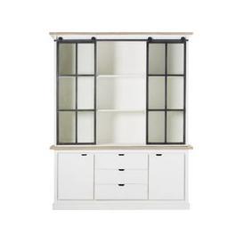image-White Solid Mango Wood and Tempered Glass 4-Door Dresser Benodet