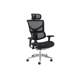 image-Merideth Ergonomic 24HR Mesh Operator Chair (With Headrest), Black