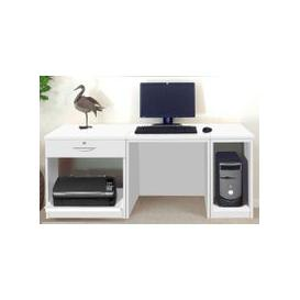 image-Small Office Desk Set With Single Drawer, Printer Shelf & CPU Unit (White)