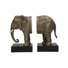 image-Libra Brown And Black Elephant Resin Bookends