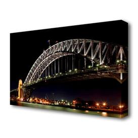 image-'Sydney Harbour Night Light' Photograph on Wrapped Canvas East Urban Home