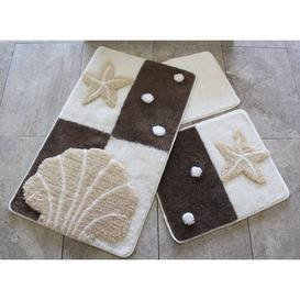 image-Lemire 3 Piece Rectangle Bath Mat Set Isabelle & Max Colour: Brown