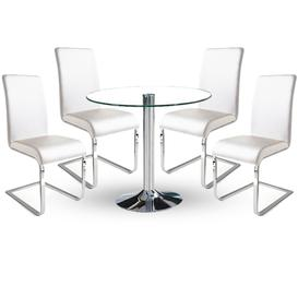 image-Dante Dining Table In Clear Glass With 4 Lotte White Chairs