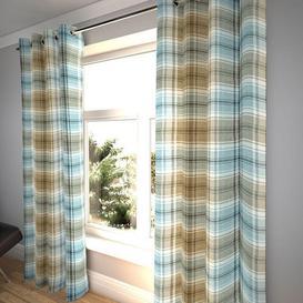 """image-Angus Duck Egg Blue Tartan Curtains, 351cm(w) x 650cm(d) (138"""" x 256"""")"""