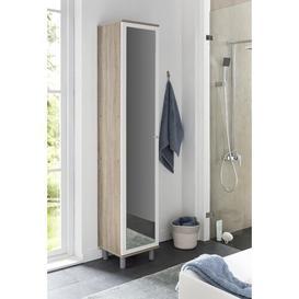 image-Moberg 35cm x 179cm Wall Mounted Bathroom Cabinet Mercury Row Colour: Sonoma oak/White, Orientation: Left