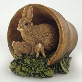image-Rabbits in Flowerpot Lugenia Figurine Brambly Cottage