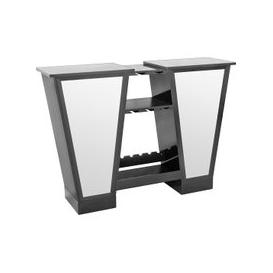 image-Abena Mirrored Bar Unit In Black High Gloss With Glass Tops