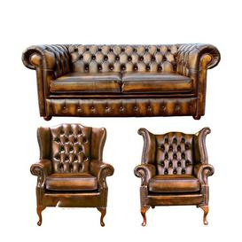 image-Wyaconda Chesterfield 3 Piece Leather Sofa Set Rosalind Wheeler Upholstery Colour: Antique Gold