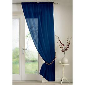 image-Troy Slot Top Panel Sheer Curtain (Set of 2) Marlow Home Co. Colour: Navy, Panel Size: 145 W x 229 D cm