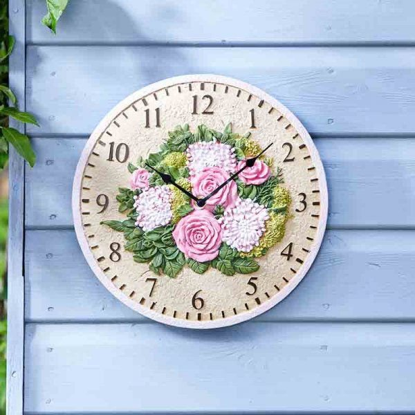 image-Floral Hand-Painted Resin 12' Wall Clock
