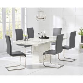image-Carvelle 200cm White Pedestal Marble Dining Table with Malaga Chairs
