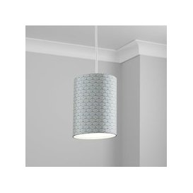 image-Made to Order 21cm Tall Cylinder Shade Deco Geo Navy