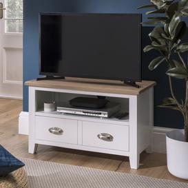 image-Oak City - Nebraska Oak 80cm Small TV Unit For Screens Up To 38 All White