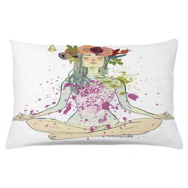 image-Kajetan Yoga Girl Floral Wreath Lotus Outdoor Cushion Cover Ebern Designs Size: 40cm H x 65cm W