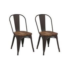 image-Renton Industrial Metal Solid Back Dining Chair (Pair)