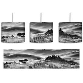image-Misty Tuscan Landscape 1-Light Drum Pendant East Urban Home Shade Colour: Black/White