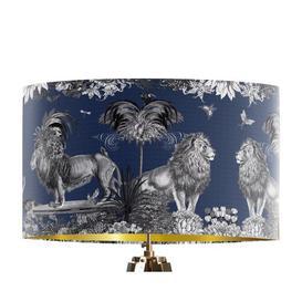 image-Classical Jungle Lion 45cm Cotton Drum Table Lamp Shade