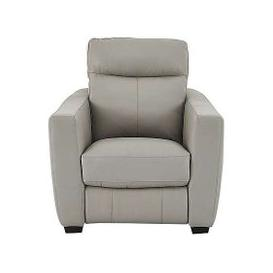 image-Compact Collection Midi Leather Power Recliner Armchair - Grey- World of Leather