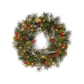 """image-Wintry Pine Pre-Lit PVC Artificial Christmas Wreath 24"""" by National Trees"""