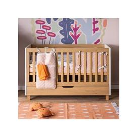 image-Vox Simple Cot Bed with Storage Drawer - Oak Effect