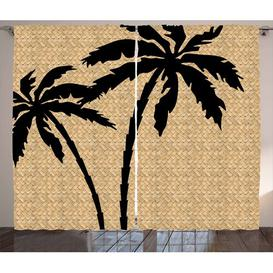 image-Tropical Pencil Pleat Blackout Thermal Curtains East Urban Home Dimensions per curtain: 175cm H x 140cm W