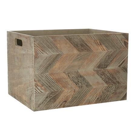 image-Chevron Pattern Wooden Box Brown