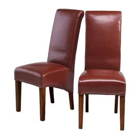 image-Mumbai Sheesham Indian Furniture Red Bonded Leather Chair Pair