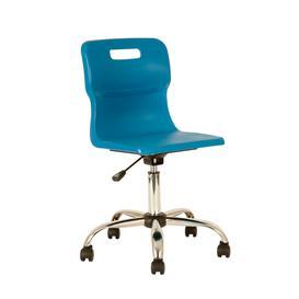 image-Plastic swivel chair, ages 11+, 465-555 mm, blue, castors
