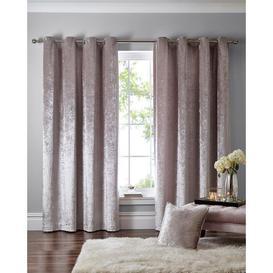 image-Debenhams Mink Crushed Velvet Eyelet Curtains - 168cm x 183cm drop - light brown