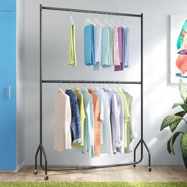 image-Two Tier Heavy Duty Clothes Rack Wayfair Basics Size: 221 cm H x 124 cm W x 46.5 cm D