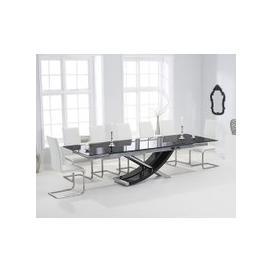 image-Mark Harris Hanover 210cm Black Glass Extending Dining Set - 6 Malibu White Chairs