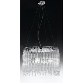 image-Arena 3-Light Crystal Chandelier Metal Lux Shade Colour: Tobacco White