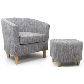 image-Shankar Tweed Grey Fabric Tub Chair with Stool