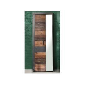 image-Saige Hallway Mirrored Wardrobe In Old Wood And Graphite Grey