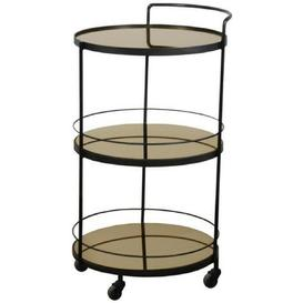 image-Notre Monde Lucy Bronze Mirror 3 Shelves Round Bar Cart