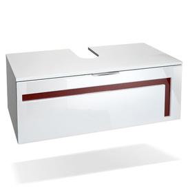 image-Aloha 96cm Wall Mounted Vanity Unit Vladon Vanity unit colour: White/Bordeaux, With mirror: No, Orientation: Without sink and fittings