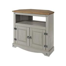 image-Corina Wooden Corner TV Stand In Grey Washed Wax Finish