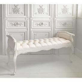 image-Provencal White Long Stool - Bedroom Bench
