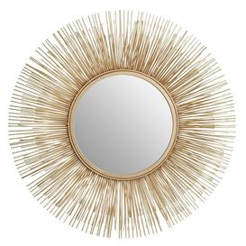 image-Templar Gold Finish Netal Rods and Mirrored Glass Round Wall Mirror
