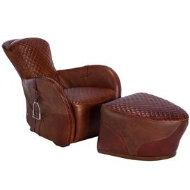 image-Timothy Oulton Leather Saddle Chair and Footstool