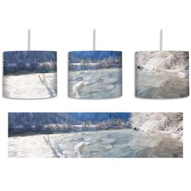 image-Winter Landscape with River 1-Light Drum Pendant East Urban Home
