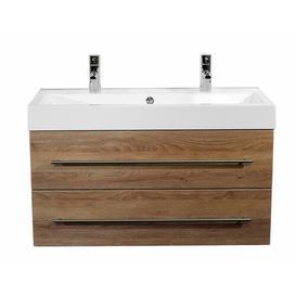 image-Sunrise 1000mm Wall Mount Vanity Unit Belfry Bathroom Base Finish: Light Oak Semi Gloss