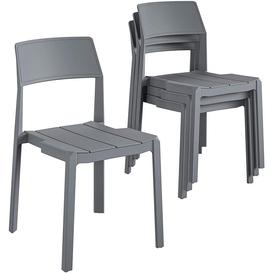 image-Novogratz Furniture Chandler Charcoal Grey Indoor/Outdoor Poolside Collection 4 Pack Stacking Dining Chairs