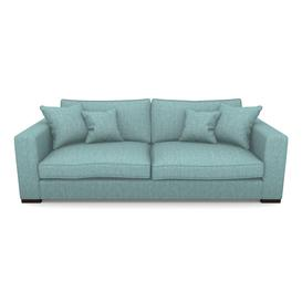 image-Stourhead 4 Seater Sofa in Mottled Linen Cotton- Turquoise