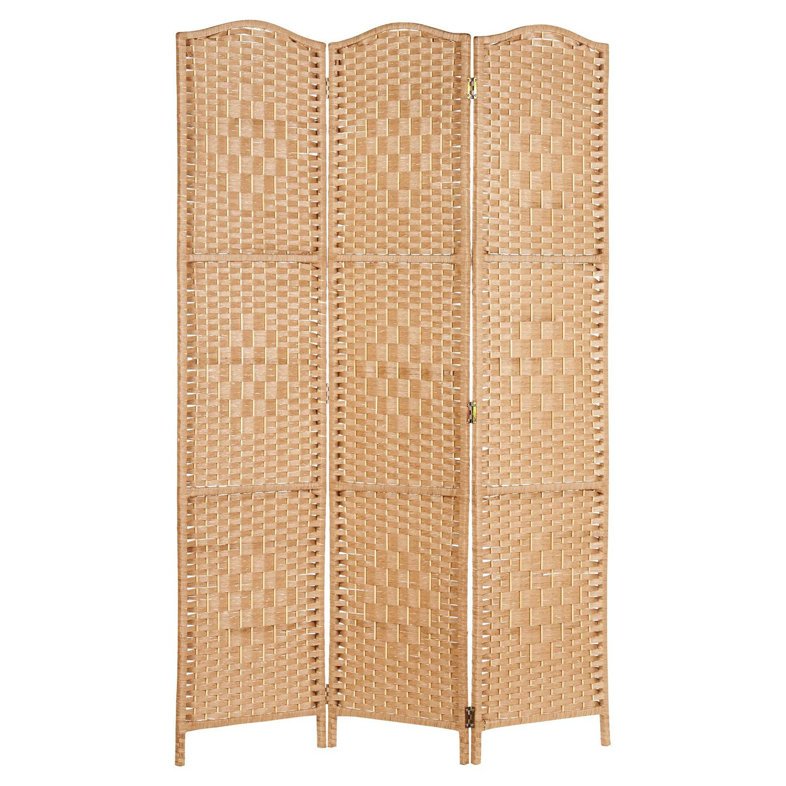 image-Hartleys Solid Weave Hand Made Wicker Room Divider - Natural - 3 Panel