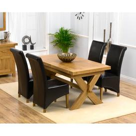 image-Altamahaw Extendable Dining Set with 4 Chairs Ebern Designs Upholstery Colour: Brown