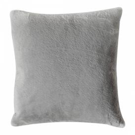 image-Grey Faux Fur Cushion