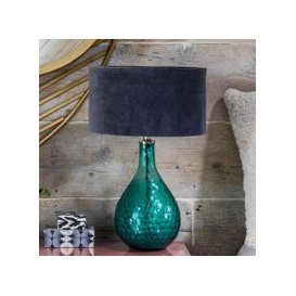 image-Hammered Green Glass Table Lamp