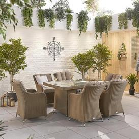 image-Nova Garden Furniture Camilla Willow Rattan 6 Seat Rectangular Dining Set with Fire Pit