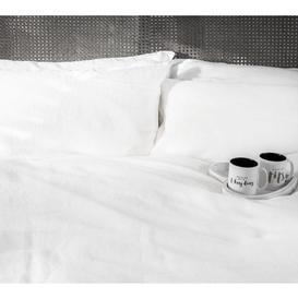 image-Lisbon Bed Linen in White (Double Duvet Cover)